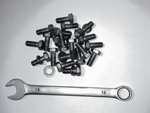 stock image of  bolts and wrench for repairs and hobbies