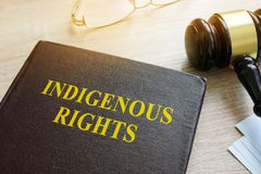 stock image of  book about indigenous rights law.