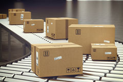 stock image of  box on conveyor roller. 3d rendering