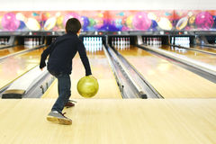 stock image of  boy bowling
