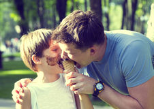 stock image of  boy and dad
