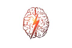 stock image of  brainstorm, creative, brain, mind, power concept. hand drawn isolated vector.