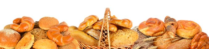 stock image of  bread and bakery products isolated on white background. panoramic collage. wide photo .