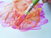 stock image of  brush with bright paints drawing paintbrush a  background hobbies