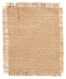stock image of  burlap fabric patch label, sackcloth piece, sack cloth of linen jute