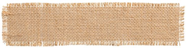 stock image of  burlap fabric patch label, sackcloth piece, sack cloth linen jute