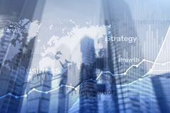 stock image of  business abstract background double exposure graph, chart and diagram. world wide map and. global business and financial trading