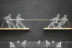 stock image of  business challenge concept with hand drawn chalk illustrations