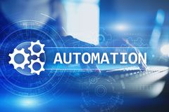 stock image of  business and manufacturing process automation, smart industry, innovation and modern technology concept.
