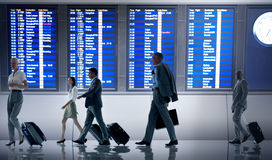 stock image of  business people airport terminal travel departure concept