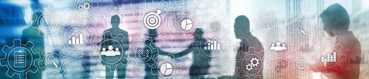 stock image of  business process abstract diagram with gears and icons. workflow and automation technology concept. website header banner