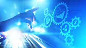 stock image of  business process management, automation workflow, document validation, connected gear cogs with icons technology concept