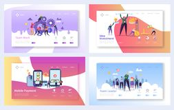 stock image of  business teamwork landing page template set. mobile payment concept. ledaership character design. partnership