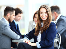 stock image of  business woman with her staff