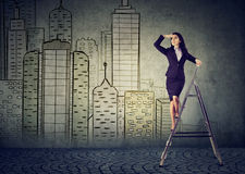 stock image of  business woman on a ladder looking far away forecasting real estate market