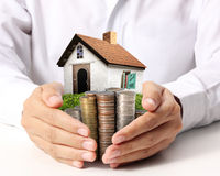stock image of  protect your house in hand