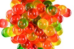 stock image of  candy background. close up. top view. colorful green, red and yellow sweetmeats candies pile