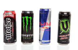 stock image of  cans of energy drinks