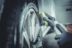 stock image of  car wheel and tires cleaning