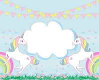 stock image of  card with a cute unicorns