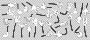 stock image of  cartoon legs and hands. legs in boots and gloved hands. vector isolated illustration set