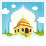 stock image of  cartoon mosque on the sky and cloud