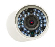 stock image of  cctv security ip camera, closeup photo, isolated object on white