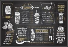 stock image of  chalk on a blackboard menu designs set - desserts menu, fish menu, tea, coffee, hot dogs, beer bar