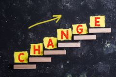 stock image of  change word on steps