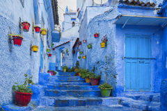 stock image of  the beautiful blue medina of chefchaouen, the pearl of morocco