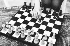 stock image of  chess game strategy thinking hobbies leisure concept