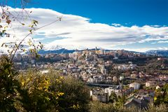 stock image of  chieti, one of the oldest cities in abruzzo, with the snow-covered maiella behind