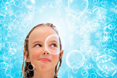 stock image of  child and bubbles