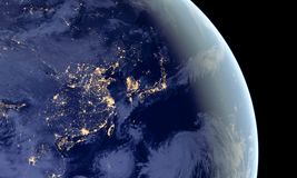 stock image of  china and japan lights during night as it looks like from space. elements of this image are furnished by nasa