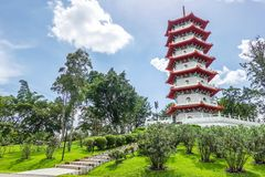 stock image of  the chinese gardens pagoda is one of the most recognizable icons in singapore.
