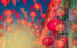 stock image of  chinese new year lanterns in chinatown.text mean happiness and g
