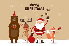 stock image of  christmas card with santa claus and wild animals.