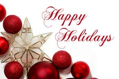stock image of  christmas decorations border with text happy holidays