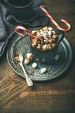 stock image of  christmas hot chocolate with marshmallows and cocoa, copy space