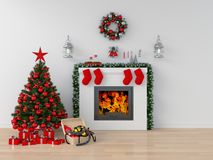 stock image of  christmas tree in white room for mockup, 3d rendering