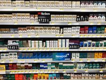stock image of  cigarettes on display for sale.