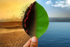 stock image of  climate change and global warming environmental day concept