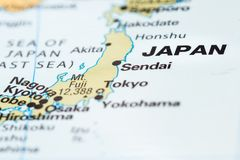stock image of  japan on a map