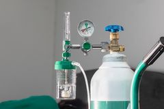 stock image of  close-up of medical oxygen flow meter shows low oxygen