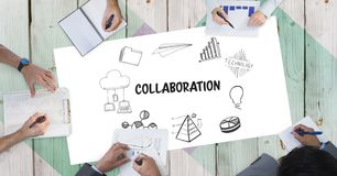 stock image of  collaboration text with icons and business people`s hands