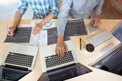 stock image of  collaborative work software engineers website developer technologies or programmer working coding on startup ai application