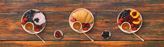 stock image of  collage of breakfast meals on wooden background, top view