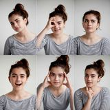 stock image of  collage of emotional girl on white background,composite of positive and negative emotions with girl