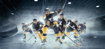 stock image of  collage about ice hockey players in action.