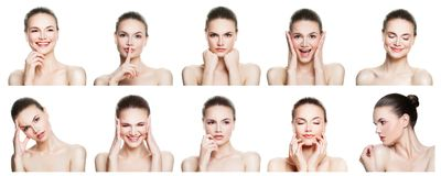 stock image of  collage of negative and positive female face expressions